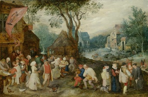 weite dorflandschaft mit st georgs kirmes by pieter brueghel the younger