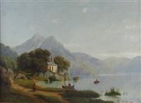gebirgssee mit kapelle an einem sommertag by theodor (wilhelm t.) nocken