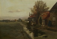 a farmhouse by a waterway by charles paul gruppe
