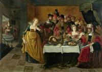 salome mit dem haupt johannes des täufers vor herodes by kaspar (jasper) van den hoecke