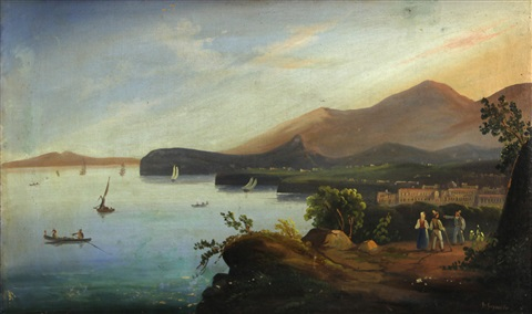 a view of sorrento and a view of the bay of naples from castellammare pair by giacinto gigante