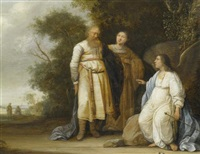 der engel verkündet manoah und seinem weib die geburt eines sohnes (simson), der als ein gottgeweihter israel von den philistern befreien würde by pieter symonsz potter