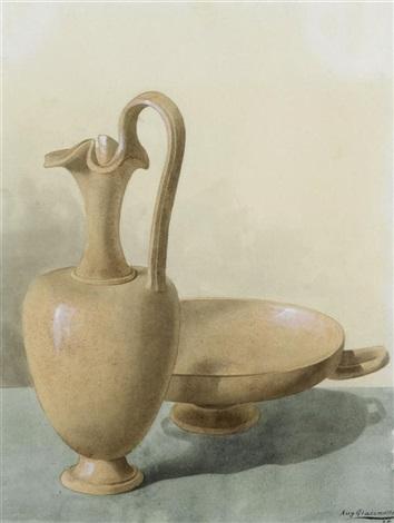 stilleben mit einem krug und einer schale by augusto giacometti
