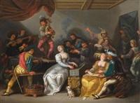 allegorie der fünf sinne: fröhliche gesellschaft in einem interieur by simon de vos