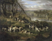 a pack of hounds in a rocky landscape by william smith