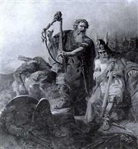 historische szene aus norden europas: ein wikingerkonig sitz nach verlorenem kampf am schlacthfeld... by axel gustav hertzberg