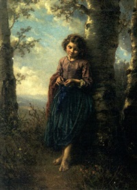 a young lady leaning against a tree by henry campotosto