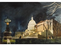 the capitol building at night, washington, d.c by millard sheets