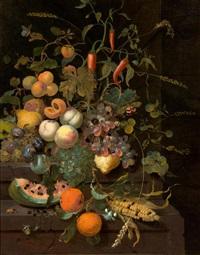 früchtestillleben mit pfirsichen, trauben, aprikosen, melone, bitterorangen, einem maiskolben und verschiedenen kleinen insekten by jan mortel