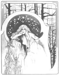 blonde frau vor einem sternenhimmel, umrahmt von lilien, bäumen und den typischen jugendstilarabesken by leo langs