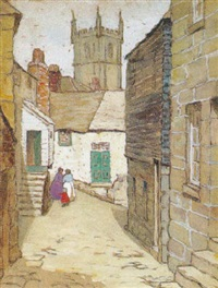 english village scene by mary nicholena maccord