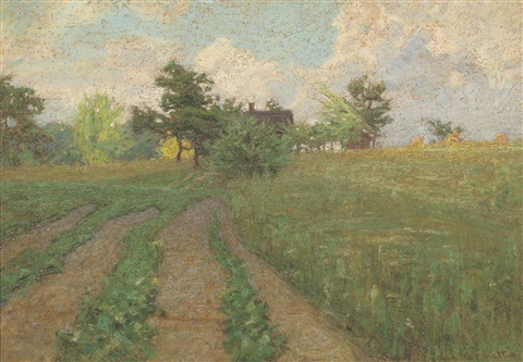 a landscape with farmhouses by léon augustin lhermitte