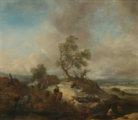 stürmische landschaft mit einem reisenden by philips wouwerman