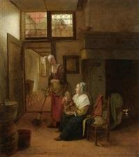 interieur mit mutter und kind und einer fegenden dienerin by pieter de hooch
