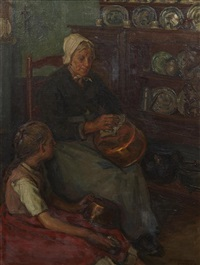 a woman and child cleaning copper pots by frank townsend hutchens