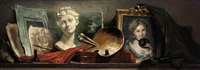 a trompe-l'oeil still life of a portrait of a young lady holding a mask, a sculpted marble bust, a palette with paints and brushes... by philippe rousseau