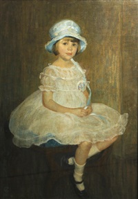 portrait of a girl in a blue hat by american school (20)