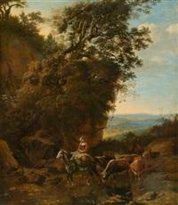durchquerung der furt, mit ausblick auf eine flämische landschaft by jan siberechts