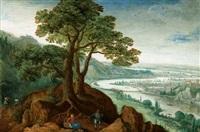 landschaft mit figuren by marten van valkenborch the elder
