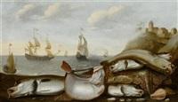 der fang des tages mit schiffen im hintergrund (collab. w/adam willaerts) by willem ormea