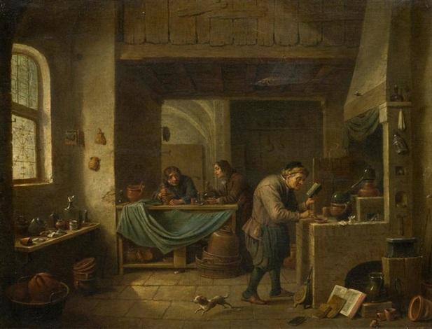 der alchimist und seine schüler by david teniers the younger