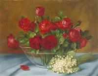 stilleben mit maiglöckchen und roten rosen by alois zabehlicky