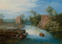 flusslandschaft mit fährboot und figuren by jan brueghel the younger