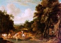 bewaldete landschaft mit bauer und vieh in einer furt by martinus de la court