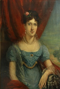 a portrait of a young lady dressed in blue by francis calcraft turner