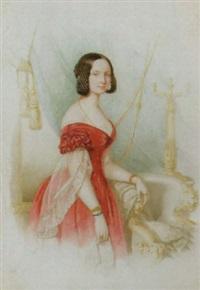porträt einer jungen frau in intérieur by franz napoleon heigel