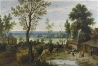 landschaft mit dem besuch einer vornehmen dame auf einem bauernhof by jan wildens