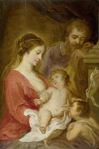 heilige familie mit dem johannesknaben by jan van den hoecke