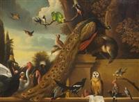 gathering of birds in a landscape by melchior de hondecoeter