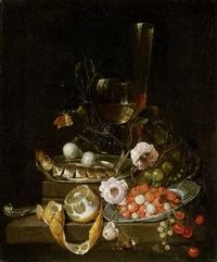 stillleben mit einem hering, früchten und rosen by david cornelisz heem iii