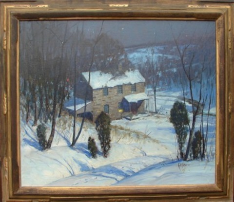 nocturnal winter landscape by george william sotter