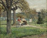 vårmotiv med damer i trädgård by greta gerell
