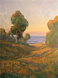 wildflowers and eucalyptus with the ocean beyond by william dorsey
