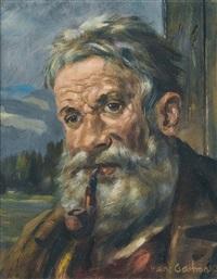 porträt eines bärtigen bauern mit pfeife by hans gartmeier