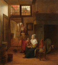 interior with a mother and child and a servant by pieter de hooch