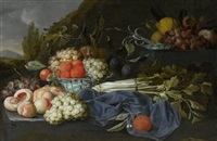 stillleben mit sellerie, pfirsischen, orangen und trauben in einer chinesischen schale by jan pauwel gillemans the elder