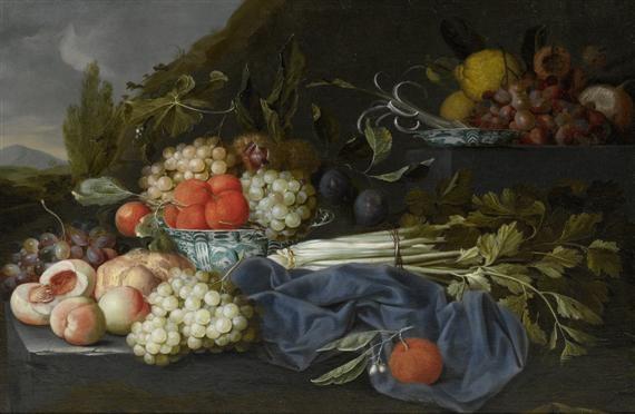 stillleben mit sellerie pfirsischen orangen und trauben in einer chinesischen schale by jan pauwel gillemans the elder