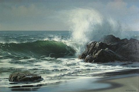 waves crashing against a rocky shore by james a fetherolf