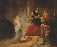 könig lear verstößt cordelia by august von heckel
