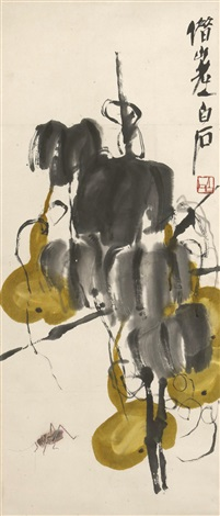 yellow gourds and cricket by qi baishi