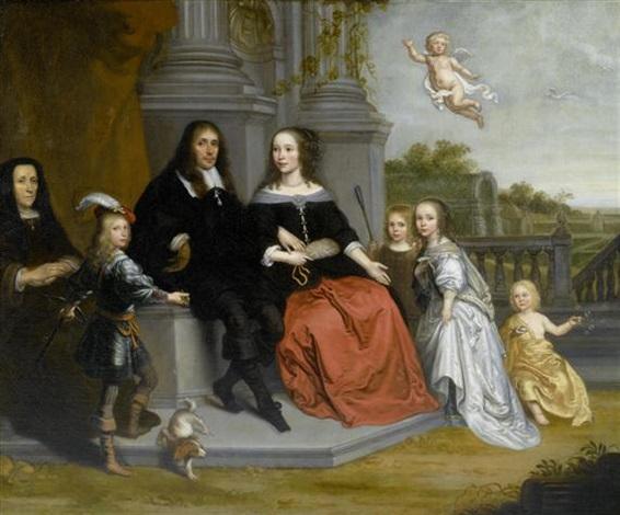 familienportrait mit putto vor einer gartenlandschaft by jan victors