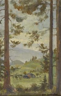 landschaft mit bäumen und gehöft (+ studie zu einem weiblichen, stehenden akt, verso) by hans gartmeier