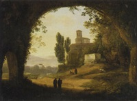 a view of an italian villa through a grotto with figures in the foreground by giambattista bassi