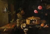 stillleben mit pasteten, obst und blumen auf einer tischplatte by jan davidsz de heem