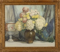 still life with vase and flowers by everett lloyd bryant
