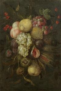 früchtestillleben mit trauben, zitronen und kastanien by jan pauwel gillemans the elder